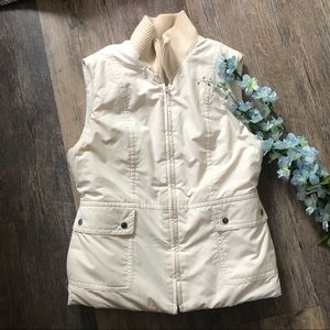 Ann Taylor White Puffer Vest with Faux Fur Lining